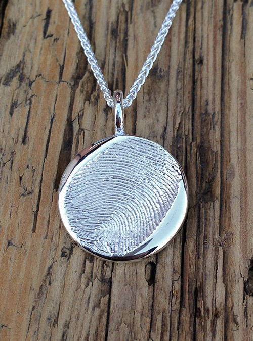 Fingerprint Charm, Sterling Silver, 19 mm