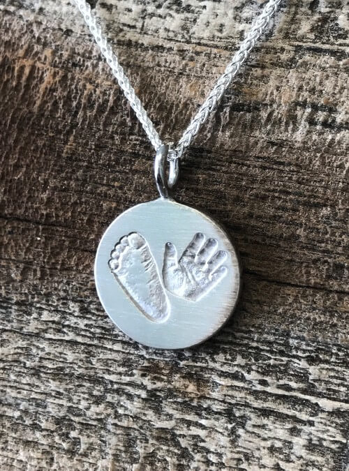 sterling silver pendant d and products chain necklace shaped engraved heart name footprint