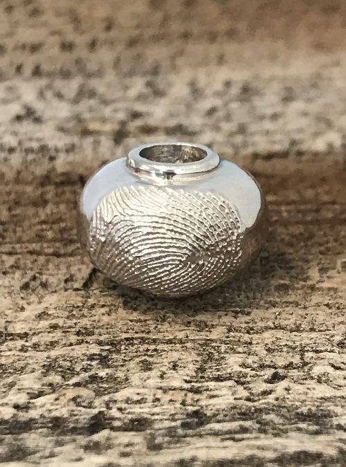 Fingerprint Bead, White Gold, Fits Pandora