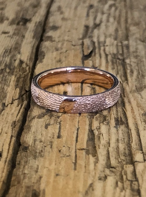 Fingerprint Wedding Band, Rose Gold, round, 4mm
