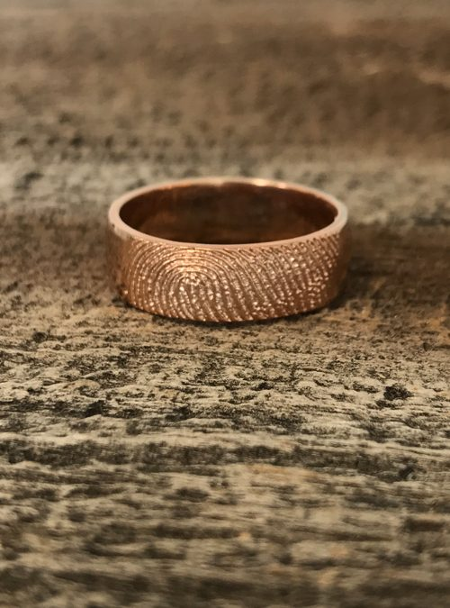 Fingerprint Ring, Rose Gold, Round, 7mm