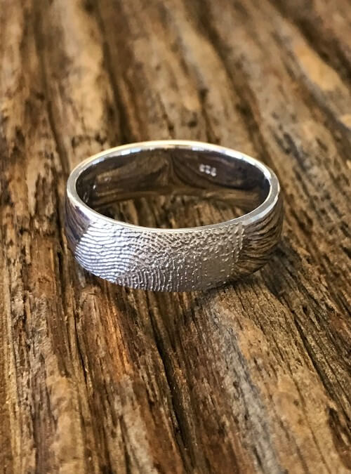 Fingerprint Band Ring, White Gold, round, 7mm