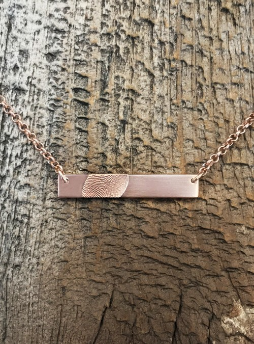 Fingerprint Bar Necklace, Horizontal, Yellow Gold