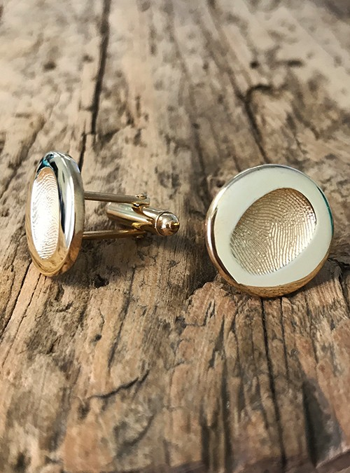 Fingerprint Cuff Links, Sterling Silver, 19mm