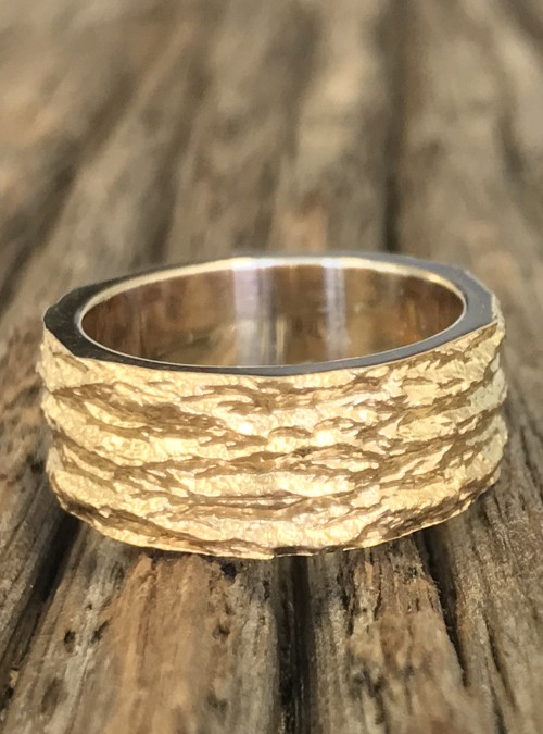 Ash Bark Ring, 8mm, White Gold