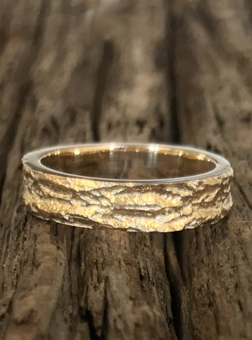 Ash Bark Ring, 4mm, Sterling Silver