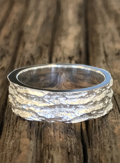 Ash Bark Ring, 6mm, Rose Gold