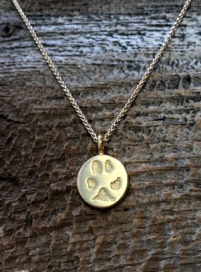 Paw Charm Necklace, Sterling Silver, 14mm charm