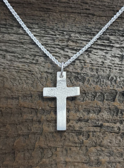 Fingerprint Cross Necklace, Sterling Silver, Small