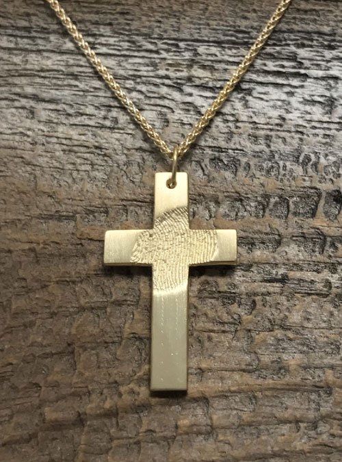 Fingerprint Cross Necklace, Rose Gold, Large