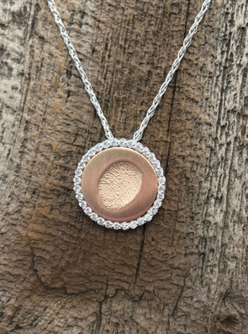 Fingerprint Halo Necklace, White Gold