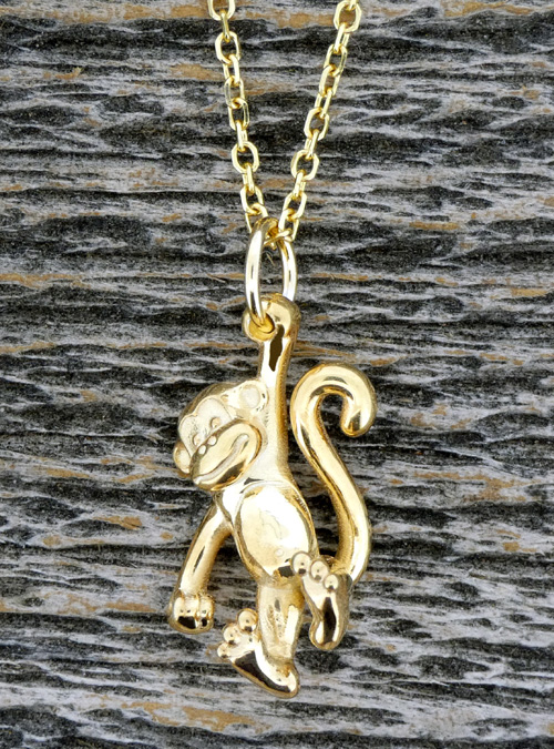 Monkey Charm Necklace, White Gold