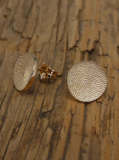 Mini Fingerprint Earrings, Sterling Silver