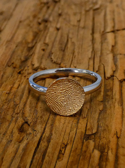 Mini Fingerprint Ring, White & Yellow Gold, 2mm