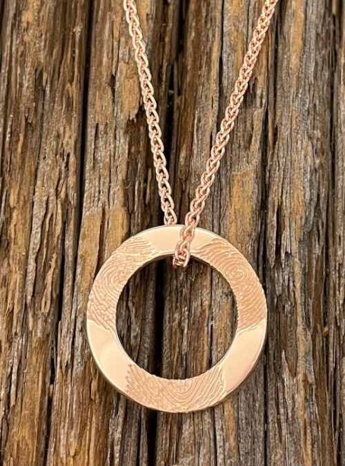 Family Circle Fingerprint Necklace, Sterling Silver